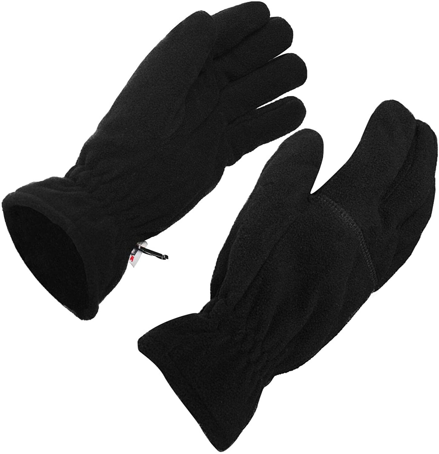 Men's winter gloves Fleece with thinsulate liners for cold weather warmth Thermarator glove (Black L)