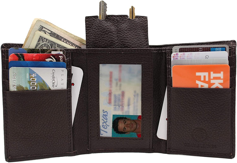 RFID Euro Black Tri-fold Leather Wallet Key Holder Zip Bill Slot Brown 130 RFTF
