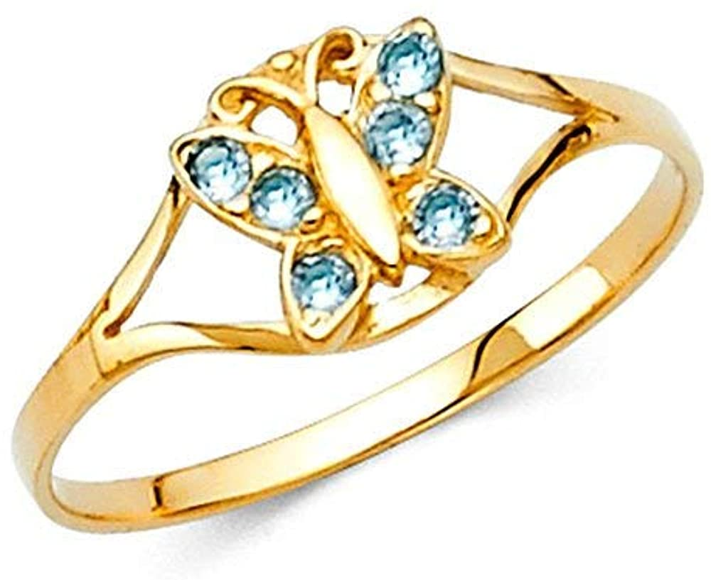 14k Yellow Gold CZ Cubic Zirconia Simulated Diamond Mar Boys and Girls Ring Size 3