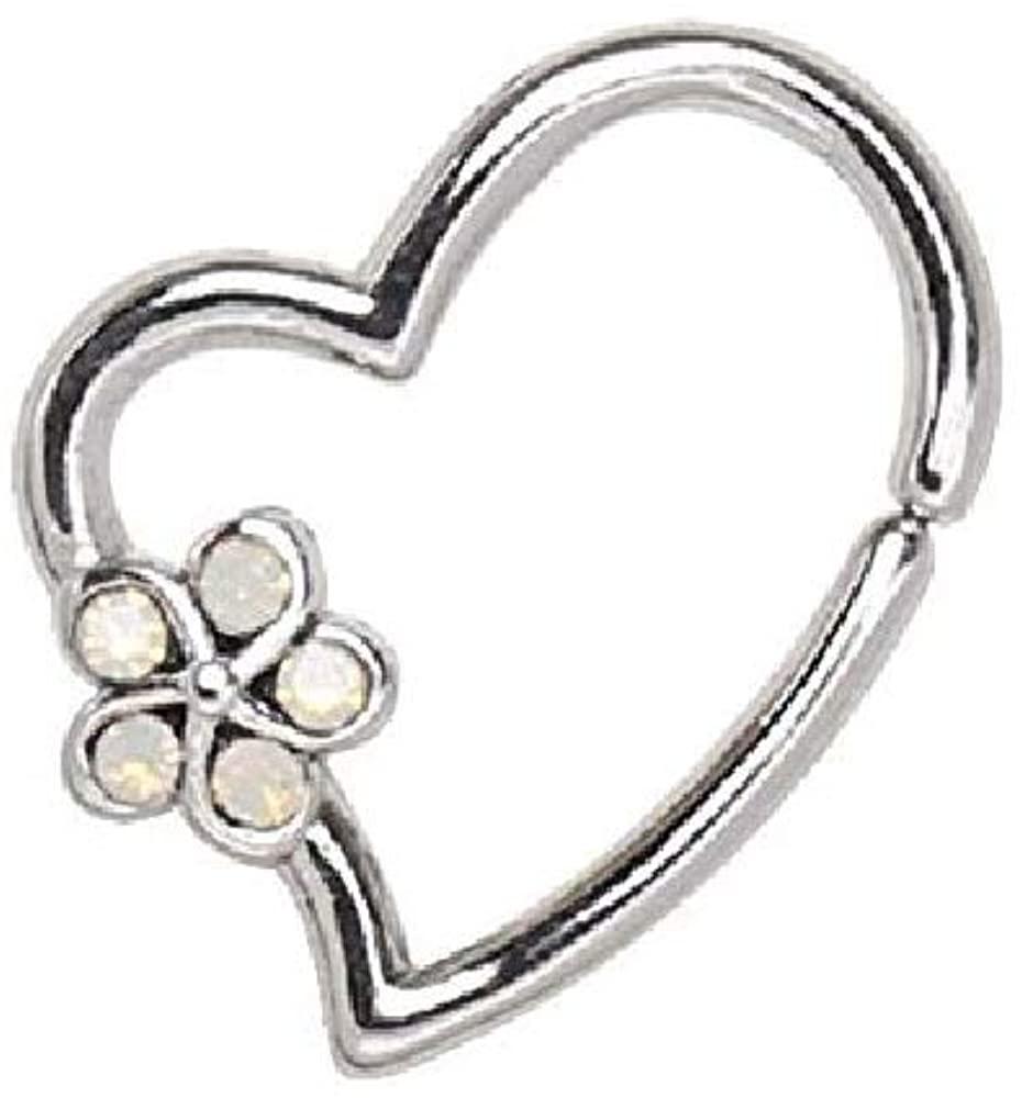 316L Stainless Steel Synthetic Opal WildKlass Flower Heart Annealed Cartilage Earring