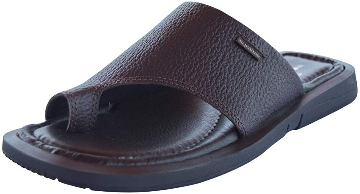 Genuine Leather Semi Closed Toe Slip On Sandal