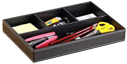 Fanousy Mens Valet Tray Organizer: Leather Valet Box Catch All Tray with 4 Compartments for Wallet Key Phone Dresser Top Nightstand Organizer