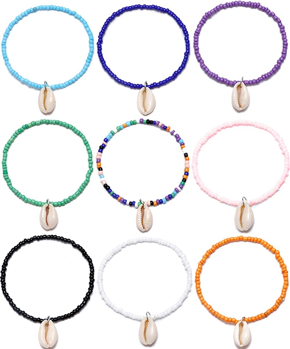 SOOWOOT 9Pcs Seed Bead Bracelet Set - Colorful Bohemian Vsco Friendship Bracelet Handmade Summer Hawaii Tiny Beaded Bracelet Anklet for Girls Women Adjustable