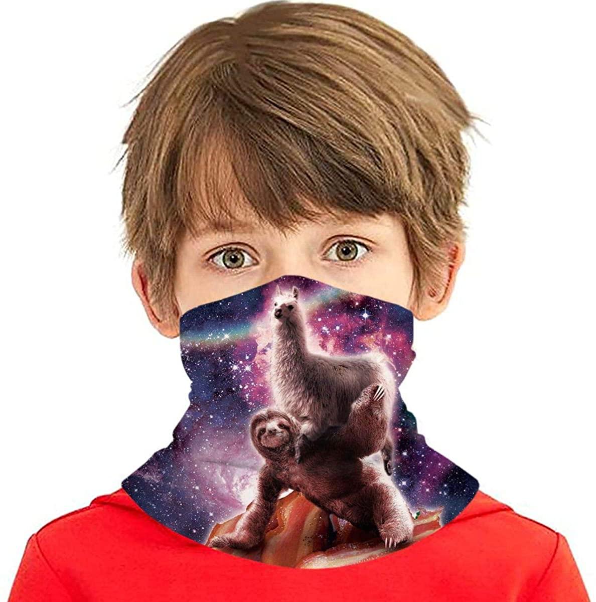 Youth Face Bandanas, Rainbow Space Llama On Sloth Riding Bacon Reusable Face Mask Half Face Towel Mouth Cloth Facial Scarf Variety Headscarf