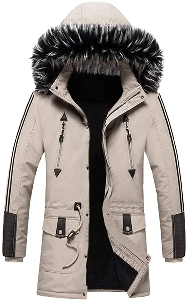 Bowake Men's Outdoor Military Jacket Solid Color Multi-Pockets Fur Hooded Windbreaker Coat