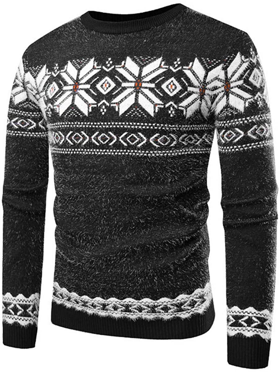 PennyStone Men Snow Deer Printed Kintted Sweater Jumper Slim Fit Christmas Pullover Clothes