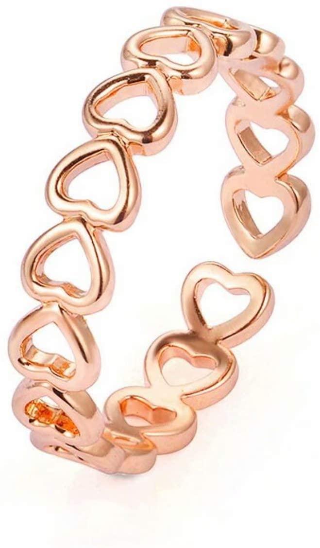 Tmrow Love Heart Ring for Friendship Geometric Hollow Heart Finger Ring for Women Girls Graduation Gift