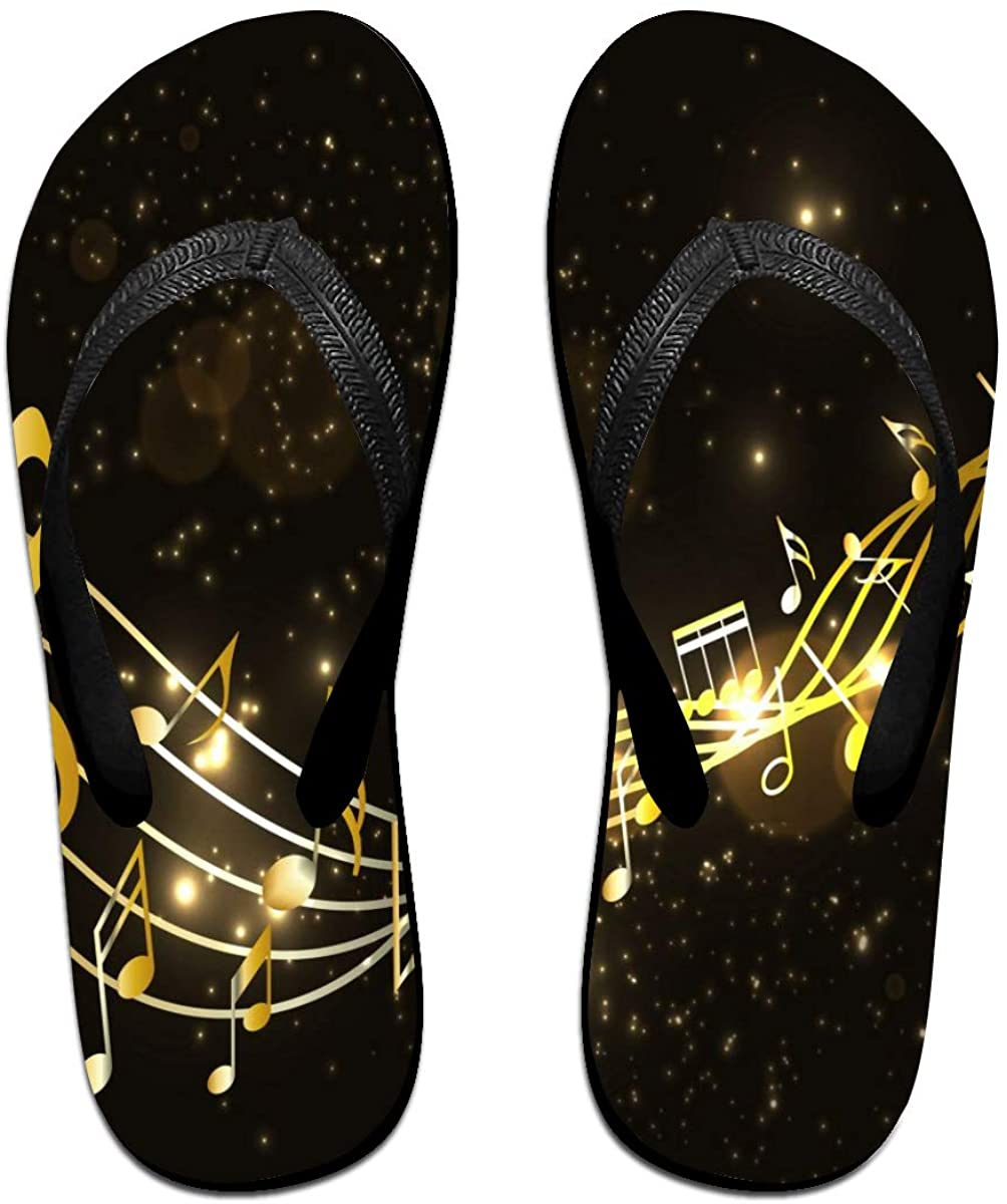Mens Flip Flop Slippers Golden Music Notes with Rainbow Lines Rubber Cozy Flip Flops Outdoor Beach Sandals