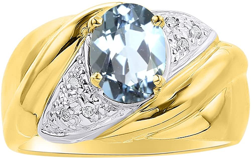 Diamond & Aquamarine Ring Set In 14K Yellow Gold - Color Stone Birthstone Ring