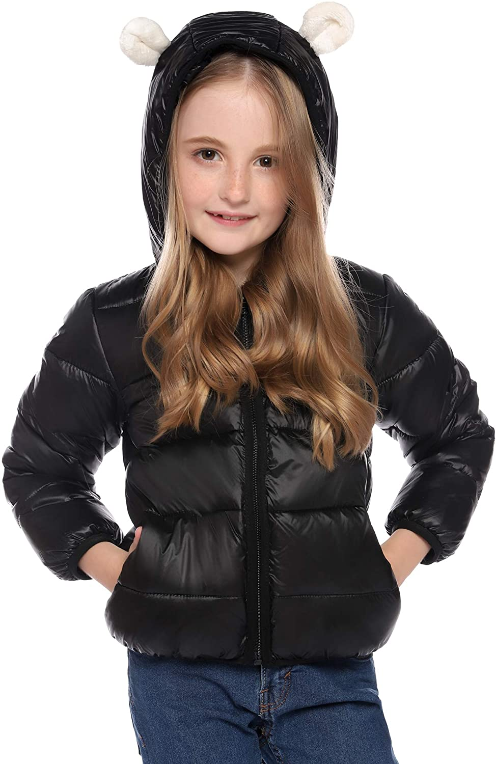 Hawiton Girls Down Coats Kids Girl Winter Warm Hooded Down Jacket Packable Lightweight Cute Puffer Jacket with Pocket