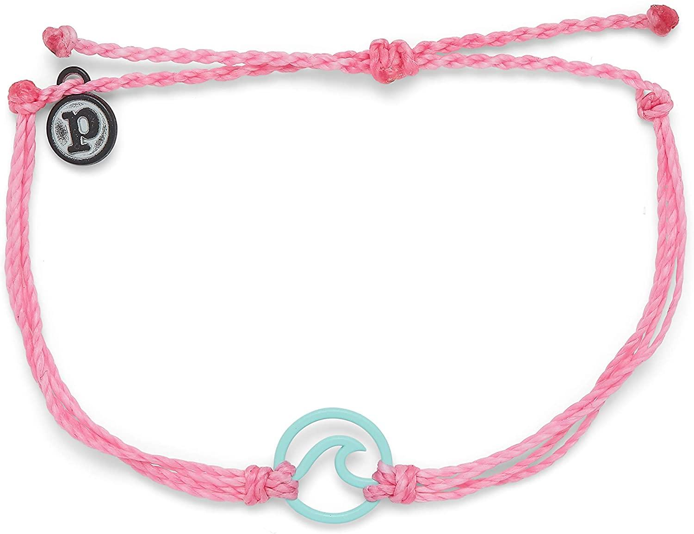 Pura Vida Aqua or White Enamel Wave Bracelet - Waterproof, Adjustable Band