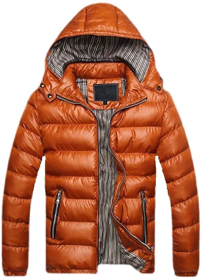 YONGM Men Removable Hood Down Jacket Full Zipper Puffer Short Jacket