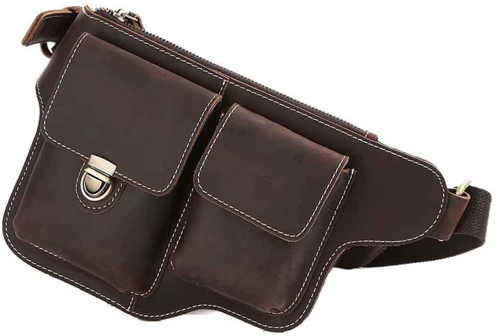Yehyep Waist Bag Genuine Leather, Men's Chest Top Leather Mobile Phone Purse Bag Bum Bag, Zippers and Excellent Workmanship, Brown