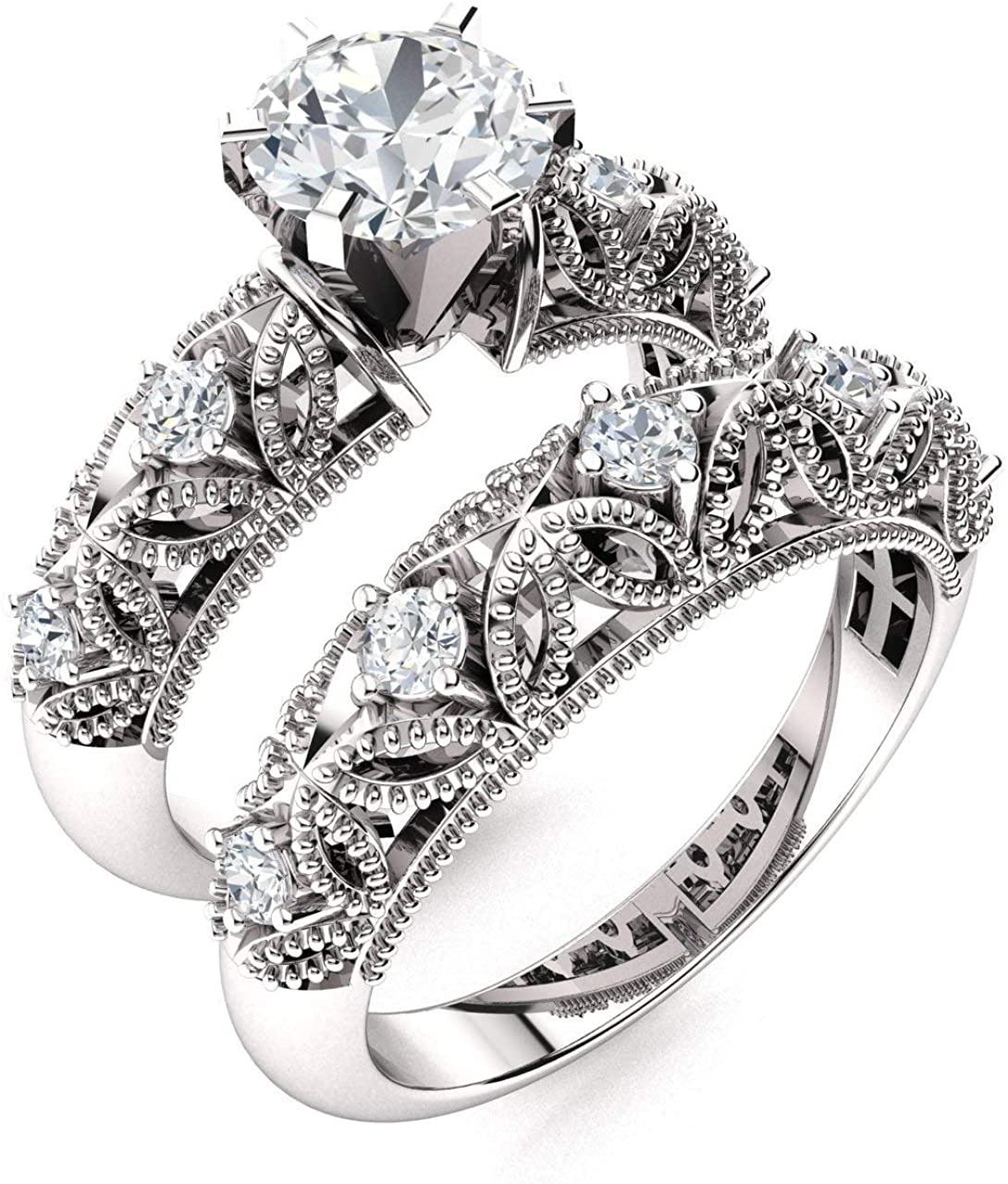 Diamondere Natural and GIA Certified Diamond Engagement Ring Set in 14K White Gold | 0.86 Carat Vintage Style Double Wedding Ring Sets, US Size 6.5