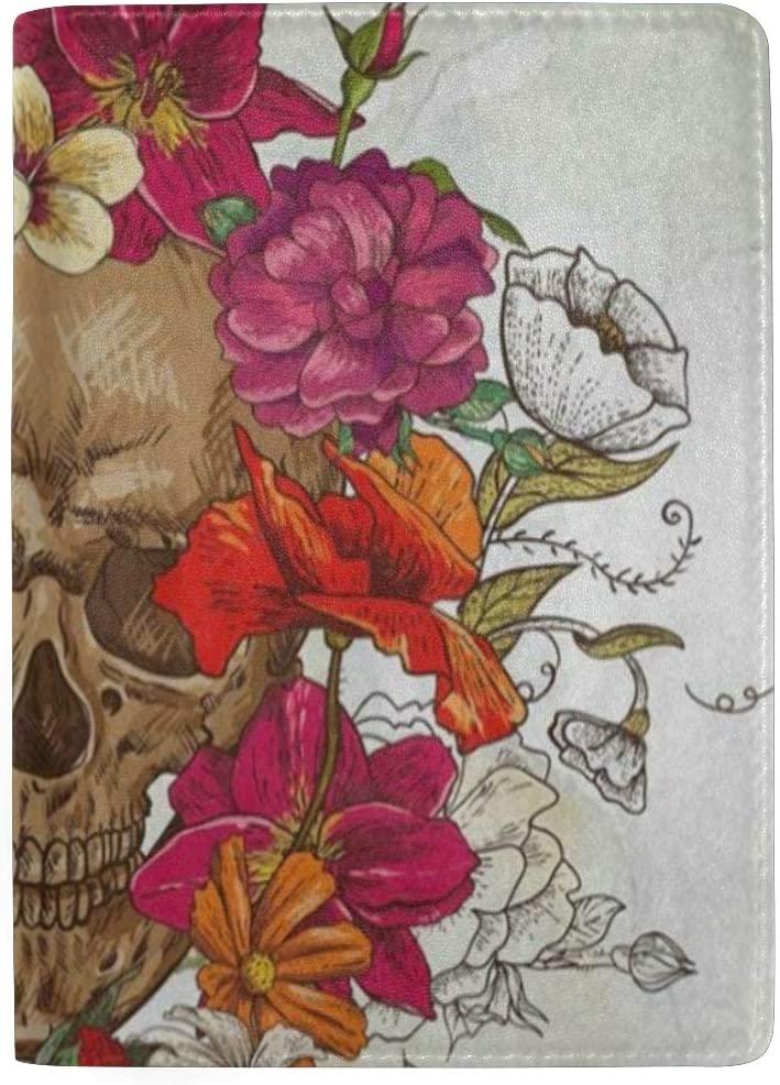 Passport Holder Vintage Red Rose Poppy Flower Skull Passport Cover Case Wallet Card Storage Organizer for Men Women Kids