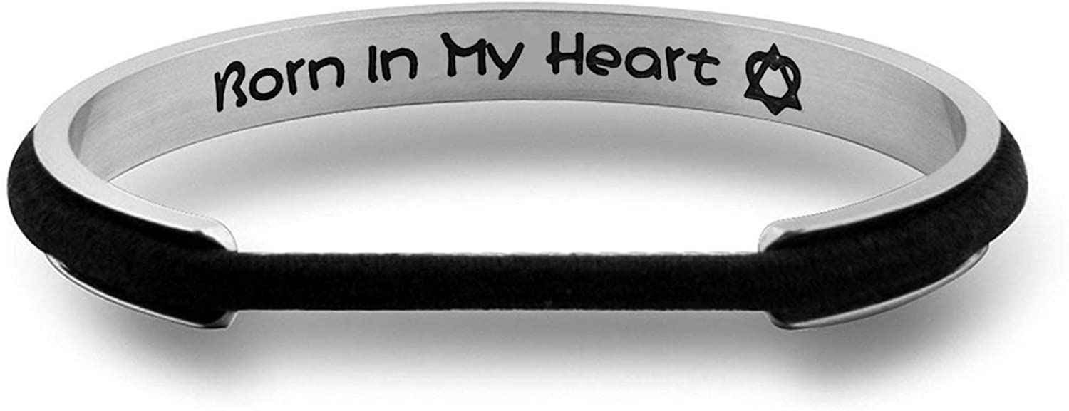 WUSUANED Born in My Heart Hair Tie Deep Grooved Cuff Bracelet Adoption Jewelry Adopted Daughter Gift