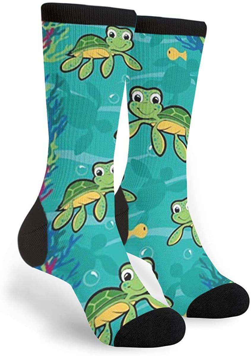 Hawaiian Baby Turtle Unisex Adult Fun Cool 3D Print Colorful Athletic Sport Novelty Crew Tube Socks