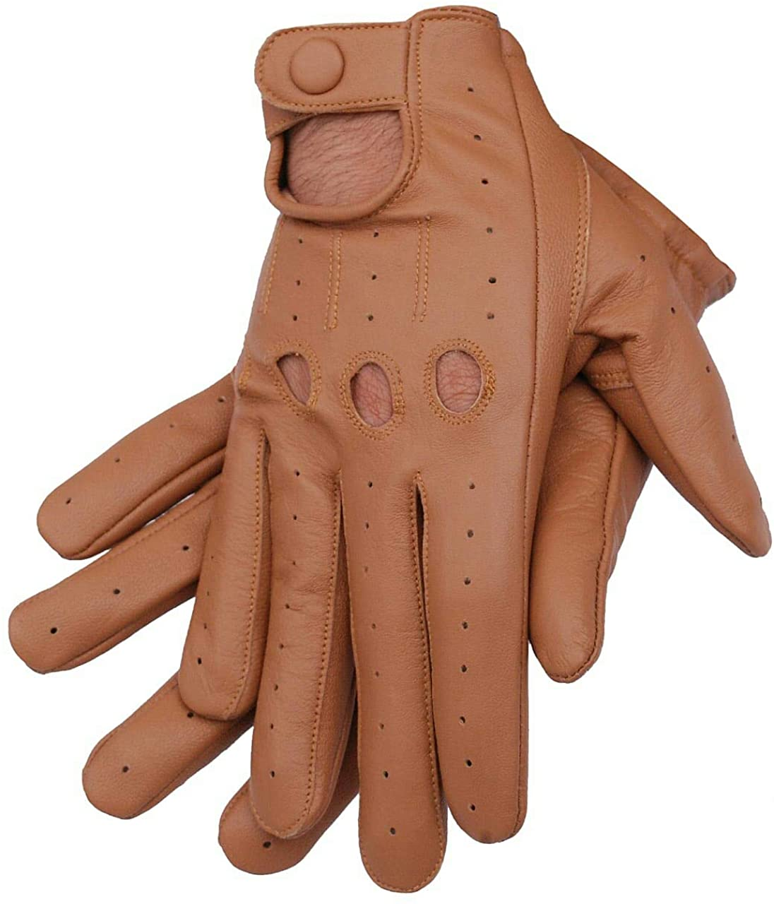 Men's Genuine lambskin Premium Quality Leather Driving Gloves (Saddle Brown, Small)