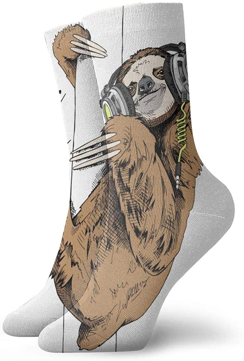 Crew Socks Cute Sloth Music DJ Novelty Casual Socks for Women Men Big Boys Girls Unisex