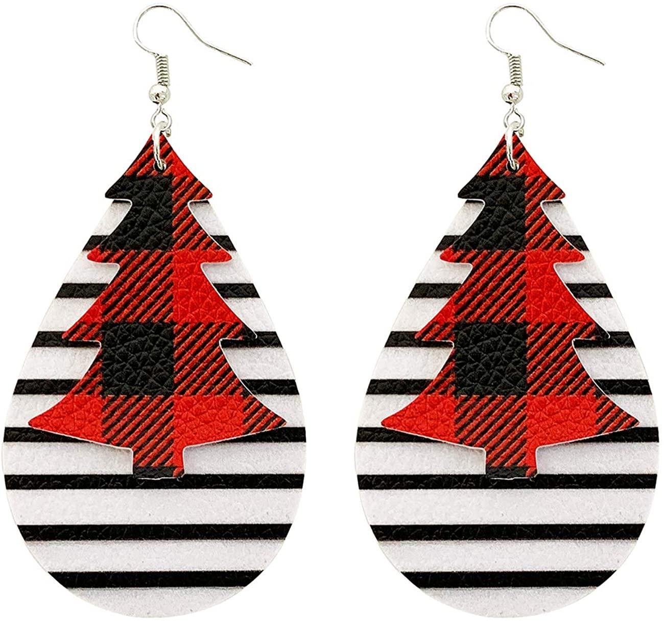 Celokiy Red Plaid Leather Earrings Teardrop Lightweight Leaf Petal Earrings Dangle for Women Girls