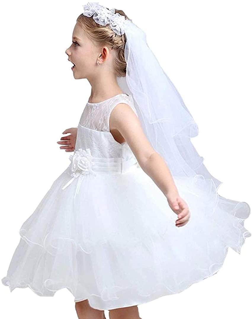 Flower Girls Veils, Girls Veil Girls' White Pearl Center Floral Crown First Holy Communion Veils For Girl