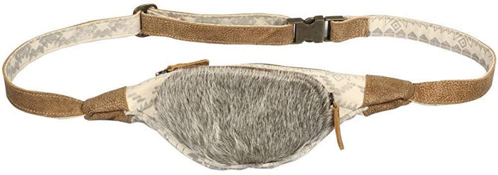Myra Bag Oromos Upcycled Canvas & Cowhide Fanny Pack S-1391