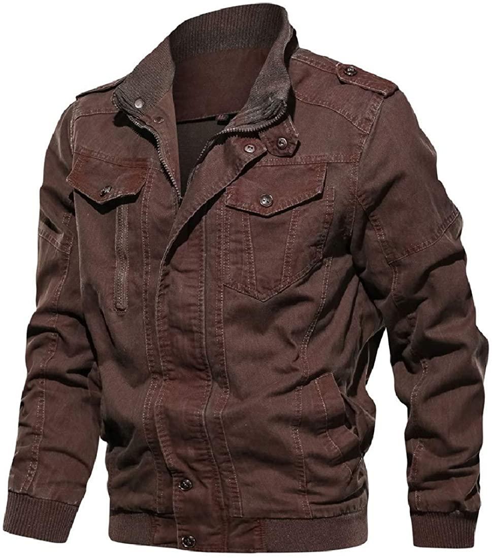 Xudcufyhu Men Windbreaker Outwear Winter Pockets Military Zipper Jackets