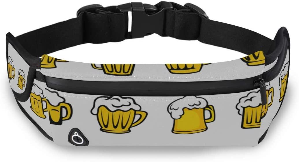 Beer Drink Pattern Cartoon Decoration Dad Fanny Pack For Men Men Fashion Travel Bag Kid Waist Bag With Adjustable Strap For Workout Traveling Running
