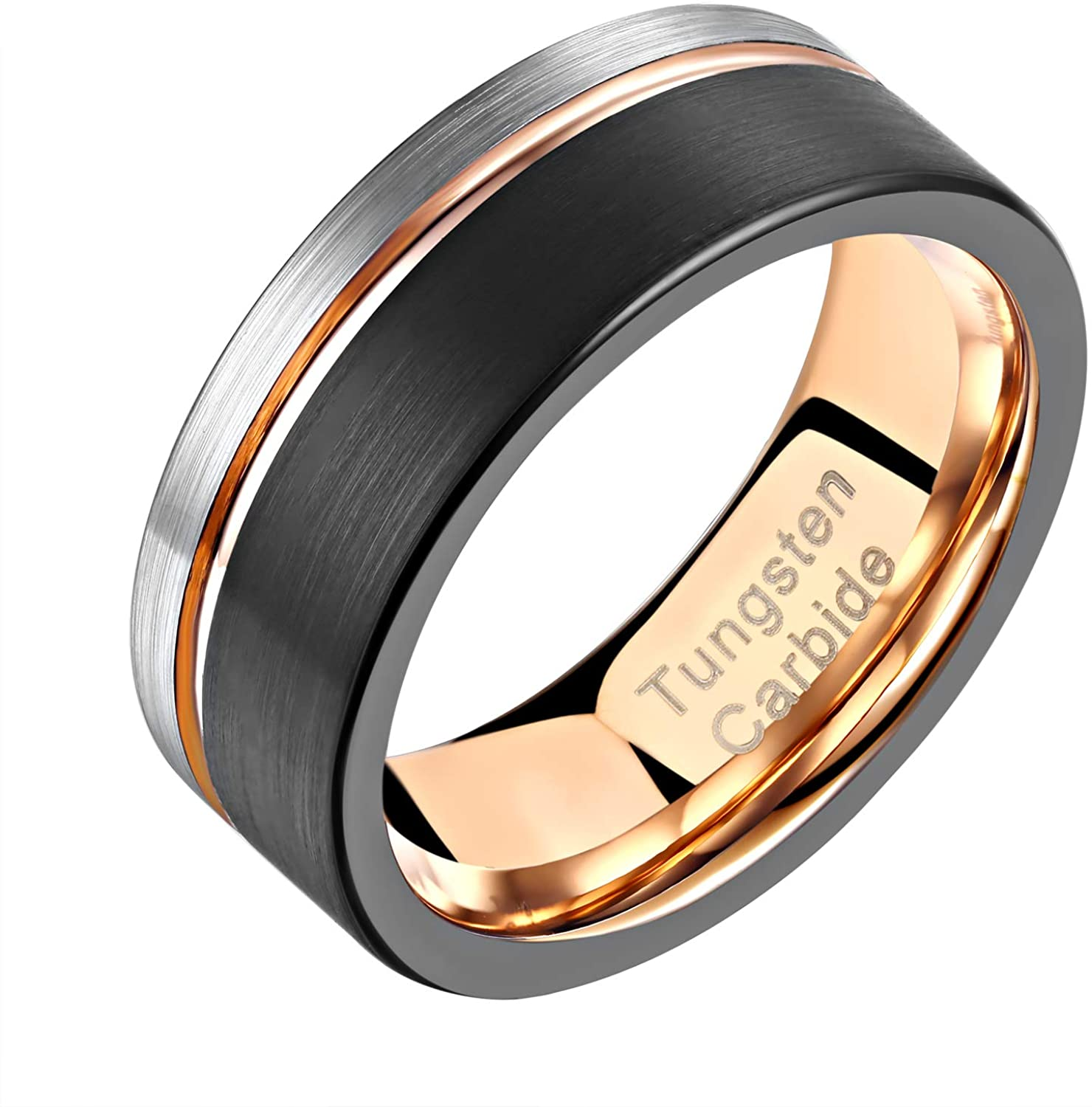 Wuziwen Tungsten Carbide 8mm Wedding Band Two Tone Rose Gold Line Black and Silver Brushed Size 9-12