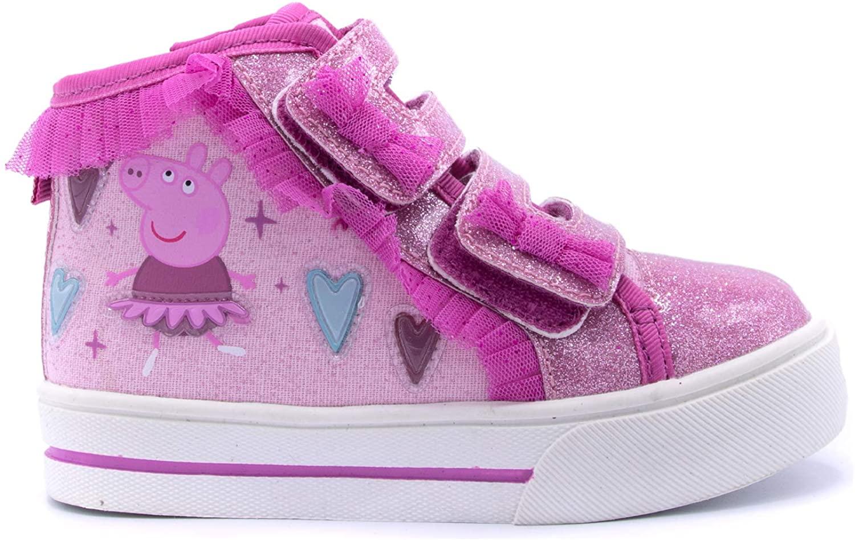 Peppa Pig Pink Ribbon Ballerina Glitter Toe Hi Top Sneaker
