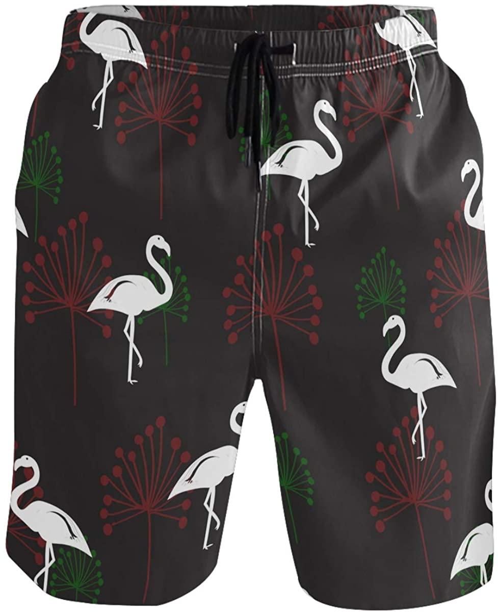 Men's Swim Trunks - Flamingo Beach Short Men Quick Dry Beach Swimwear