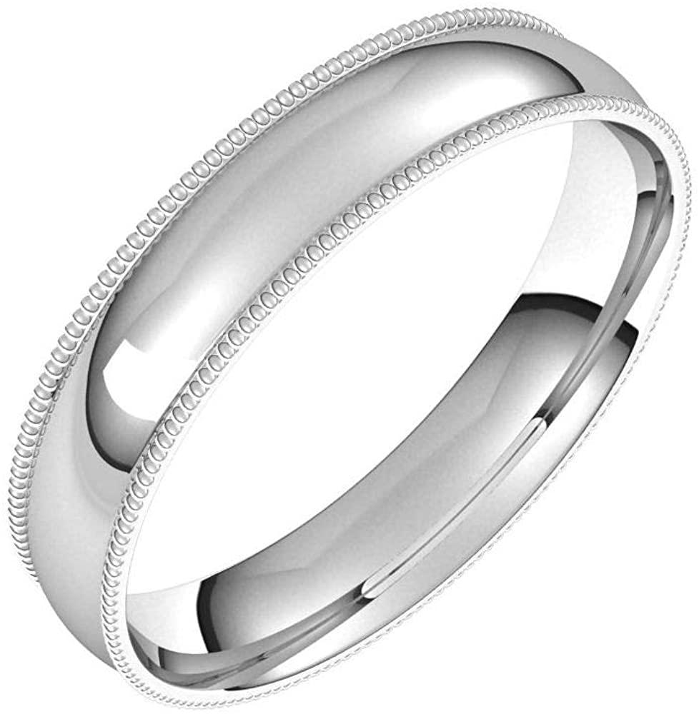 Solid Palladium 4mm Milgrain Half Round Comfort Fit Light Wedding Band Size 6