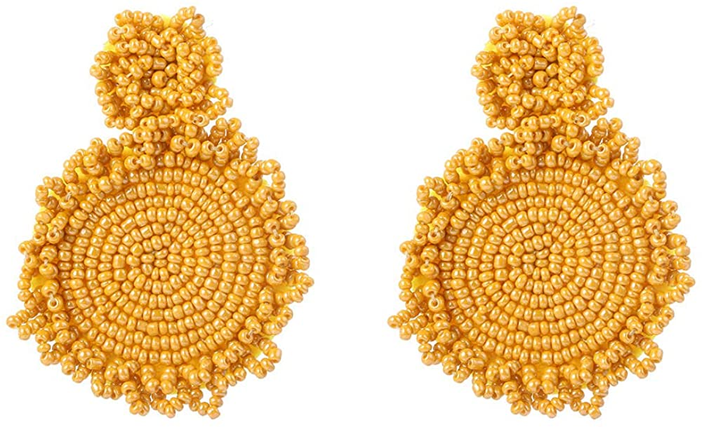 Baoqin Statement Boho Drop Earrings for women - Round Handmade Beaded Dangle Earrings Gift for Girls Women