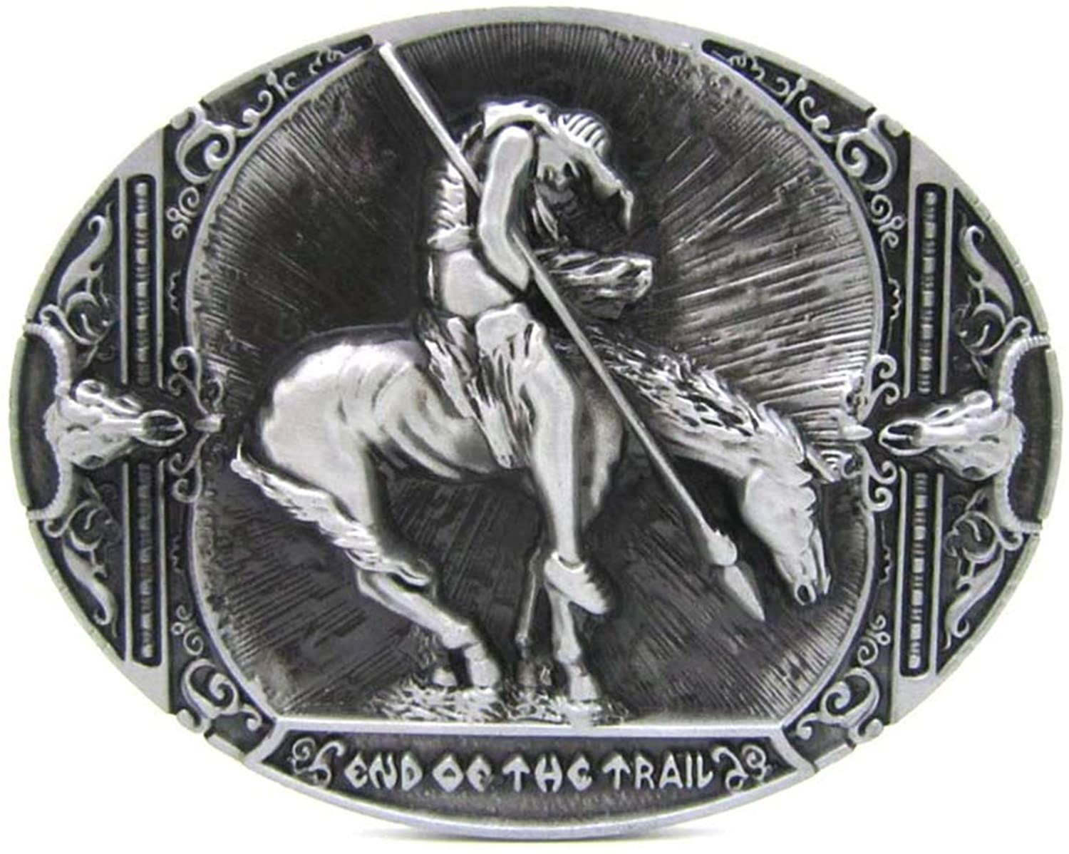 The End Of The Trail Horse Rider Western Belt Buckle