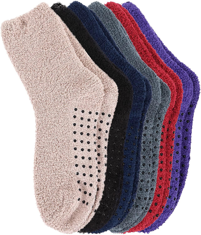 Burklett Adult Indoors Anti-Skid Winter Slipper Socks - 2,4,6 Pack