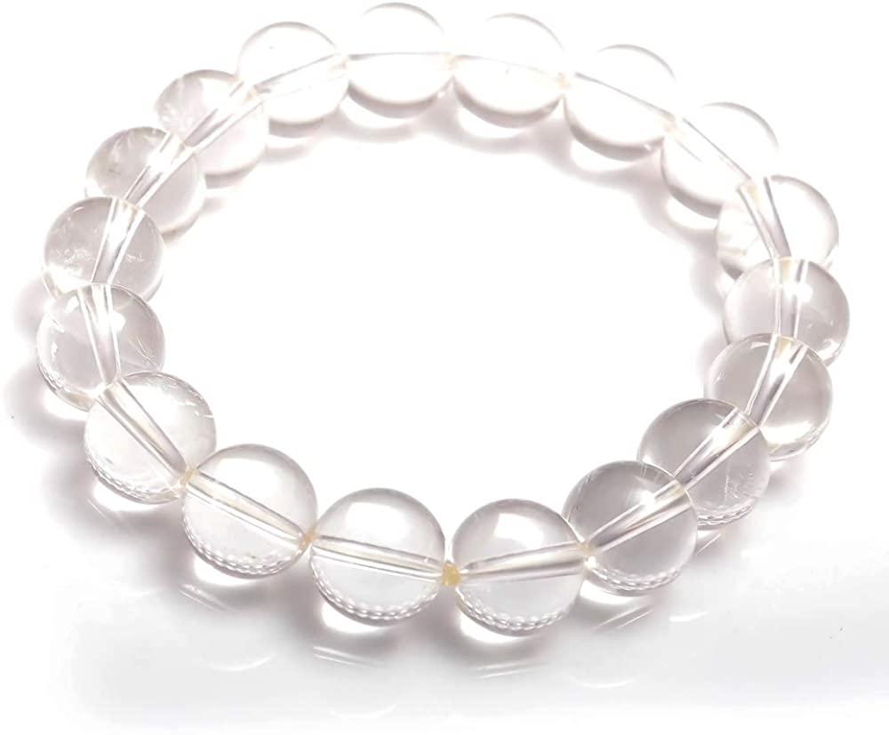 COLORS OF JEWELS Amazing Crystal Quartz Gemstone 11 mm Plain Balls Beads Stretchable Unisex Bracelet Jewelry