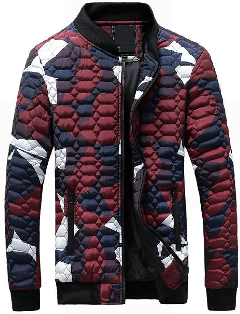 Wndxfhdscd Men Collar Stand Jackets Zip-up Plus-Size Regular-Fit Camouflage Down Parka