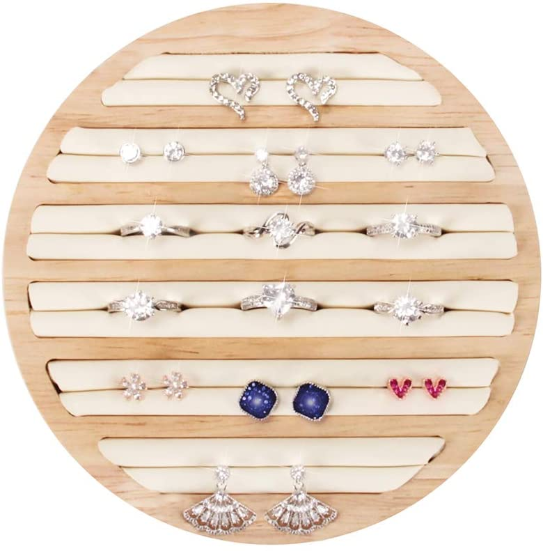 DesignSter Wooden Ring Display Tray - Large Capacity 6 Long Slots Unique Leather Insert Jewelry Storage Holder/Earring Showcase Organizer for Drawer Dresser Countertop Stackable (Round, White)