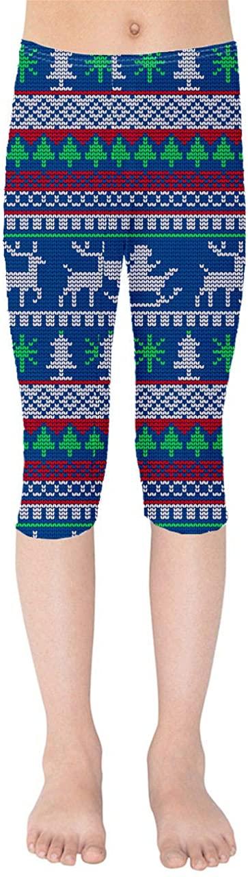 Youth Capri Leggings - Ugly Christmas Santa Reindeers Blue
