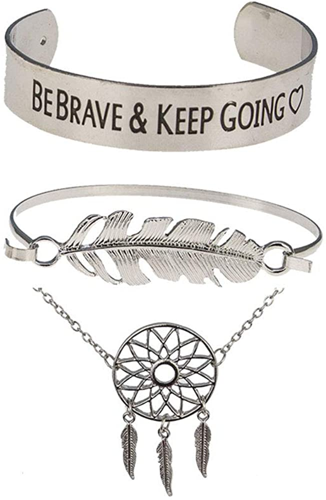 Solememo Vintage Retro Bohemian Design Antique Silver Tone Bracelet Set, Be Brave Feather and Dreamcatcher Set of 3 Bangles, Friendship Gift