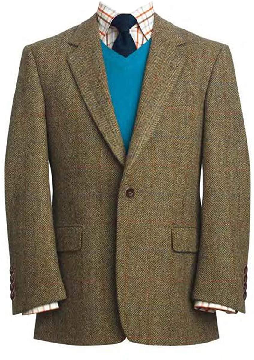 The Fine Swine Harris Tweed Coats (Lovat Green Stromay, 42R)
