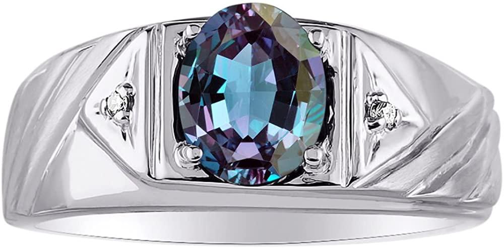 Diamond & Simulated Alexandrite Ring 14K Yellow or 14K White Gold