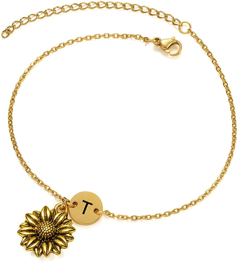 Joycuff Gold Sunflower Charm Chain Bracelet You are My Sunshine Monogram Personalized Initial Letter Engraved Alphabet