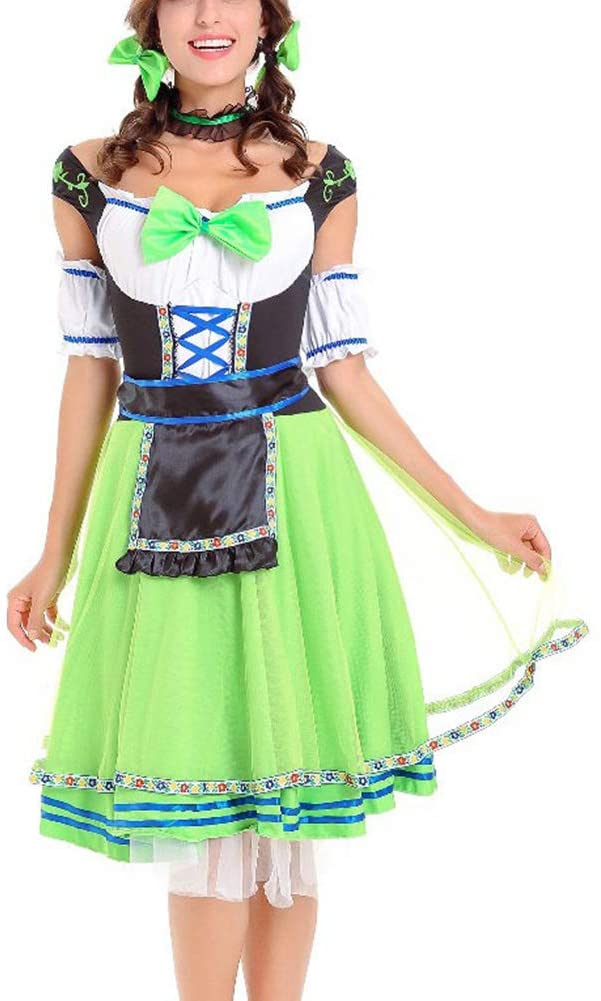 Sexy Low Chest Maid Beer Dirndl,Bowknot Oktoberfest Cosplay Aprons,Gauze Sleeves Game Uniform With Headdress,Workwear Apron Green M