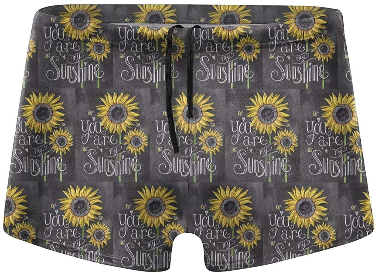 You are My Sunshine Sunflowers Men's Swimwear Swimming Trunks Surfboard Boxer Shorts