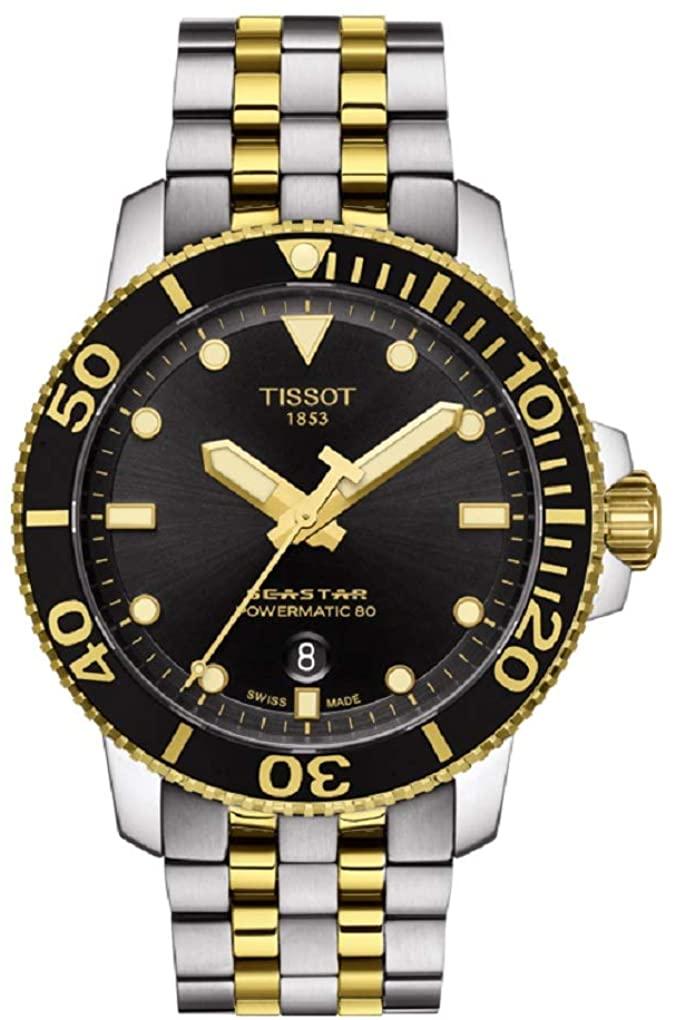 Tissot Men's Two Tone Seastar 1000 Powermatic 80 Watch T1204072205100