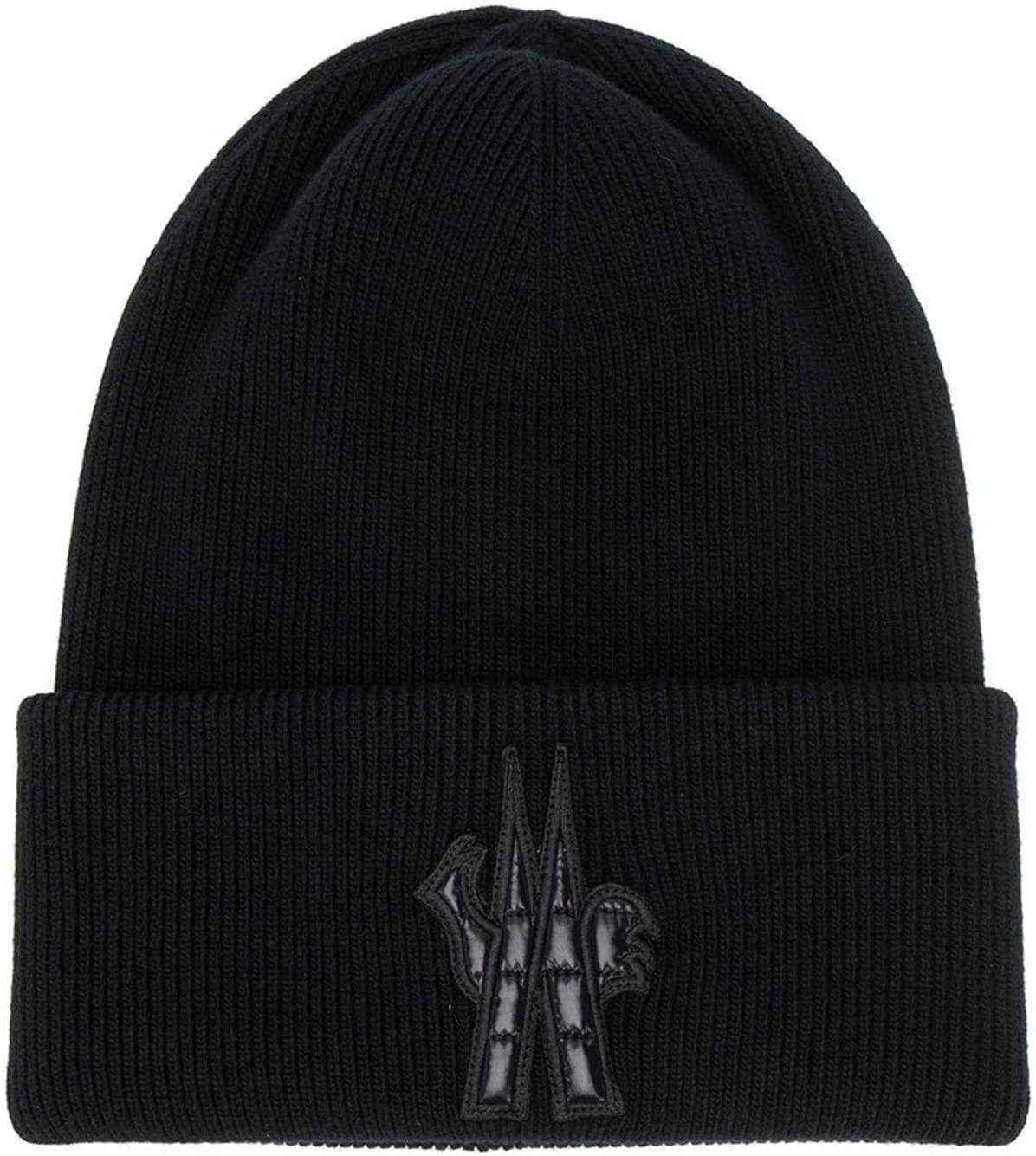Moncler Grenoble Men's Black Wool Logo Beanie Hat Oversized