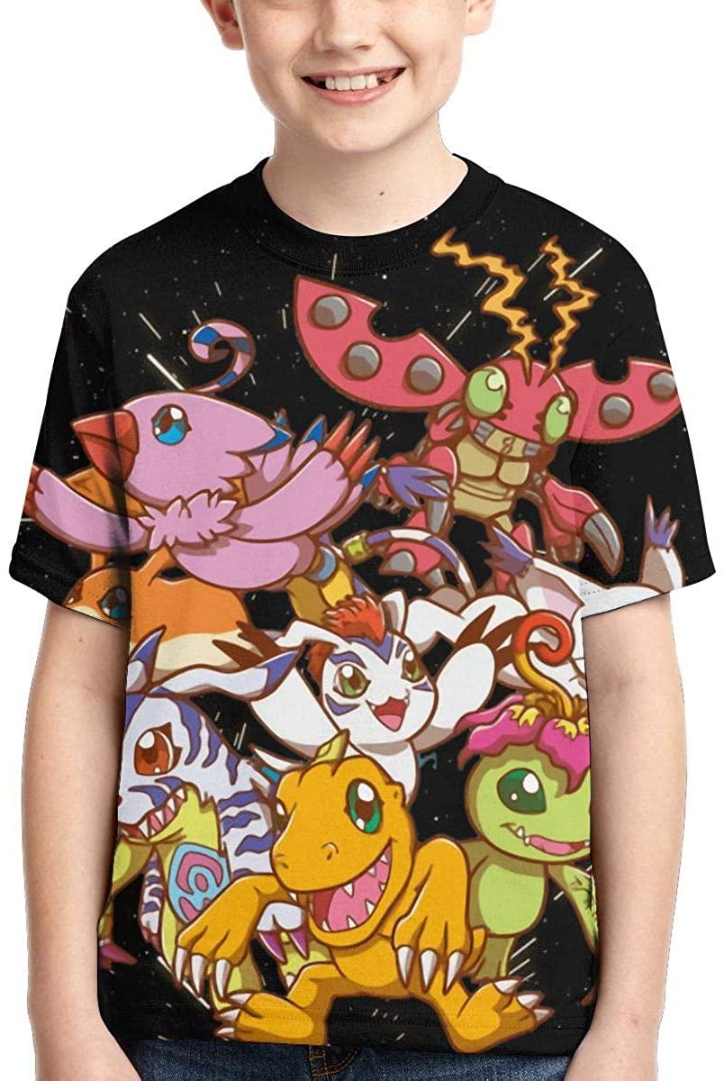 Bryansaki Digi-Mon Boys T-Shirts,Teens Novelty Tops Fashion Youth Tee Shirts,Crewneck T-Shirt for Kids/Girls/Boys