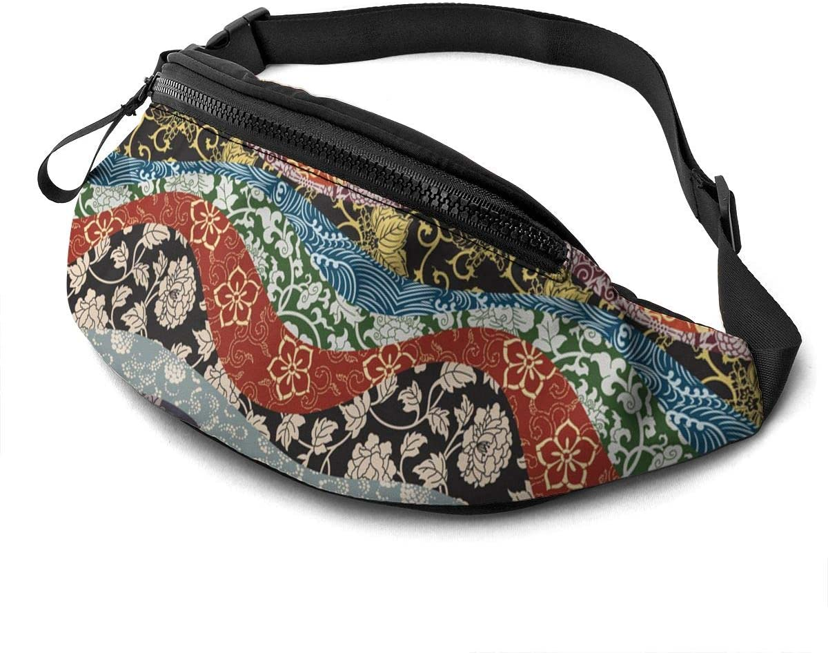 Japanese traditional style (2) Fanny Pack for Men Women Waist Pack Bag with Headphone Jack and Zipper Pockets Adjustable Straps