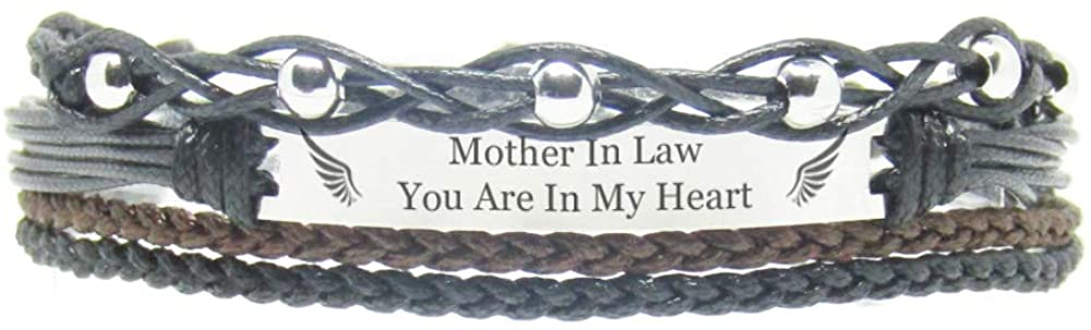 Miiras Remembrance Bracelet, Memorial Jewelry - Mother in Law, You are in My Heart - Black 3- Beautiful Way to Remember Your Mother in Law That is no Longer with You